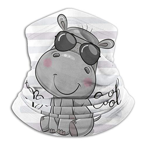 WH-CLA Calentador De Polaina De Cuello Dibujos Animados Lindo Hipopótamo con Gafas De Sol Protección contra El Polvo Sol UV Motocicleta Polaina para El Cuello Pasamontañas Sin Costuras BU