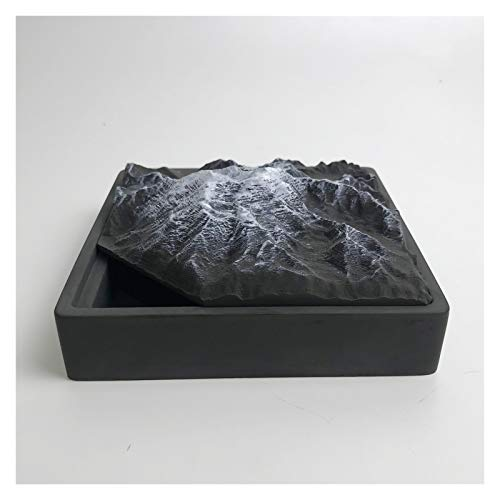 ZJH Ash Tray Creative Cement Ashtray with Lid Fashion Snow Mountain Model Handmade Ash Tray Home Living Room Office Ornaments Gifts for Men Smoking Ashtray (Color : Alaska Mountains)