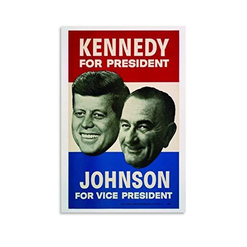 John F Kennedy Lyndon Johnson (1960) Vintage Campaign Póster Lienzo de pared retro carteles para paredes de dormitorio, sala de estar estética, decoración del hogar cuadro 30 x 45 cm