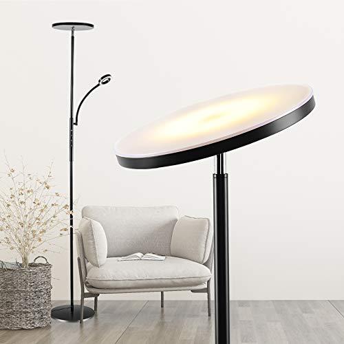Stehlampe LED Dimmbar, 20W Stufenlos Dimmbarer Deckenfluter mit 3 Farbtemperaturen und Zeitschaltfunktion, Moderne Standleuchte mit 5W Leselampe für Wohnzimmer Schlafzimmer Büro Schwarz