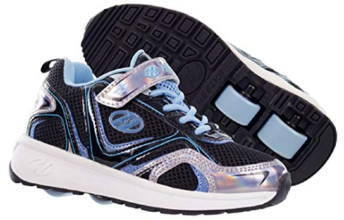 Heelys HE100028K - Heelys Rise x2 de Sintético para Chico, Color, Talla (34 EU, Black Silver Hologram Neon Blue)