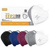 konjac 20pcs Mascarillas FFP2 homologadas, 5 capas Mascarillas Faciales Embolsadas individualmente Con Salvaorejas. (20 unidades-5colores)