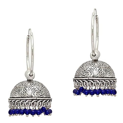 Wedding Collection Colorful Beads Oxidised Jhumka Earrings