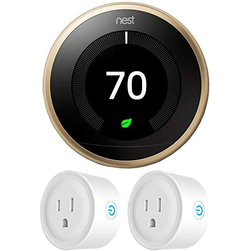 Google Nest T3032US Learning Thermostat 3rd Gen Smart Thermostat, Brass Bundle with...
