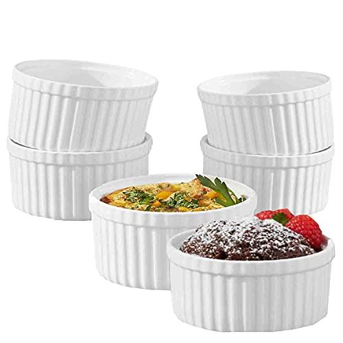 K BASIX 4.5 oz Porcelain Ramekin Pudding Cups, Dipping Bowls, Souffle Dishes, Creme Brulee Set, Classic Style White Ramekins Set for Baking, Custard, Pudding Cups, Set of 6, Oven Safe