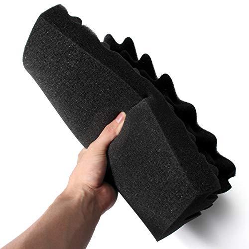 『Enipate 吸音材 ウレタン スポンジ 波型 24枚セット 30*30*3cm ウレタンフォーム 防音 12枚セット (24枚セット・ブラック)』の4枚目の画像