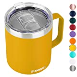 SUNWILL Insulated Coffee Mug with Handle, 14oz Stainless Steel Togo Coffee Travel Mug, Reusable and Durable Double Wall Coffee Cup, Powder Coated Yellow