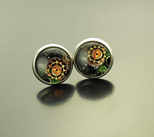 Ohrringe Steampunk Uhrwerk Zahnrad Bild Zeichnung Uhr schwarz bunt antik alt vintage Glas Ohrstecker Stecker Cabochon Juvelato