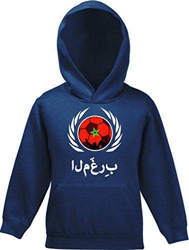 ShirtStreet Marocco Wappen Fussball WM Fanfest Gruppen Fan Kinder Kapuzen Hoodie - Pullover Fußball Marokko, Größe: 128,Navy