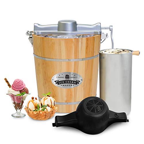 Elite Gourmet Old Fashioned Vintage Appalachian Wood Bucket Electric Maker Machine, Bonus Classic Die-Cast Hand Crank, Uses Rock Salt Churns Ice Cream in Minutes, 4-Quart, Pine