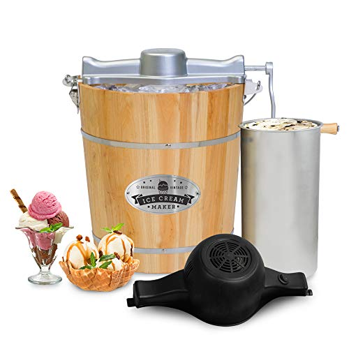 Old Fashioned 4 Quart Vintage Appalachian Wood Bucket Electric Maker Machine, Bonus Classic Die-Cast Hand Crank, Uses Rock Salt Churns Ice Cream in Minutes, Black - Elite Gourmet EIM402