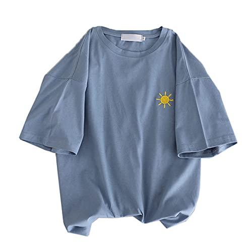 Camiseta de Manga Corta de algodón Simple para Mujer, Verano, Estilo de Hong Kong, Ropa Blanca Suelta de Media Manga