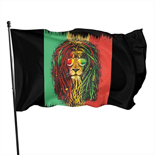 tenghanhao Flagge/Fahne Reggae Rasta Flag Lion Decorative Garden Flags Outdoor Artificial Flag for Home Garden Yard Decorations 3x5 Ft