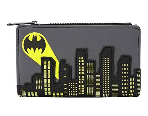 Loungefly x Batman Bat-Signal Gotham City Skyline Flap Wallet (Grey Multi, One Size)