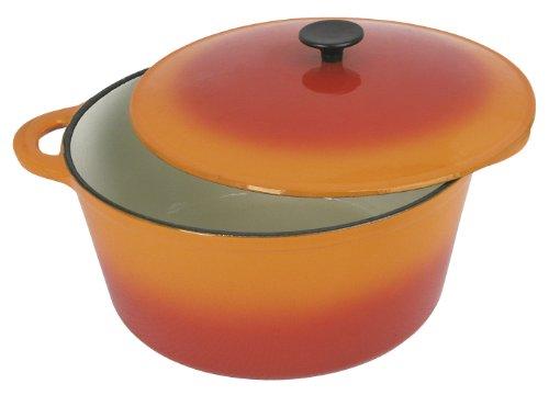 Crealys 501605, COCOTTE Grand Chef ronde en fonte émaillée 9 litres - Extérieur orange et intérieur blanc - toutes sources de chaleur y compris induction