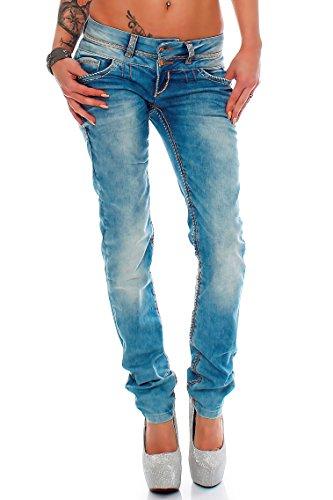Cipo & Baxx Sexy Damen Jeans Hose Hüftjeans Skinny Slim Fit Stretch Röhre Design, Blau, 26W / 32L