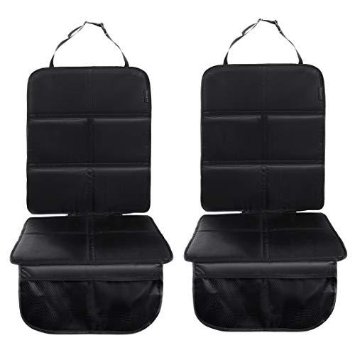 8safe Protector Asiento de Coche Universal | Tela de Oxford 210 | Impermeable | Compatible con ISOFIX | Ligero y duradero | Con Bolsillos (Negro Pack2)