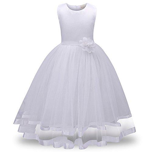 FRAUIT jurk meisjes lange prinses Bridesmaid jurken Pageant Tutu Tulle Gown Party bruiloft jurken met bloemen kinderen chiffon jurk feestjurk 92 104 116 128 140 152 164