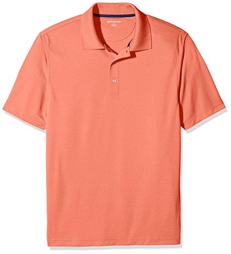 Amazon Essentials Herren Poloshirt Regular-fit Quick-dry Stripe Golf Polo Shirt, Orange (Coral), S