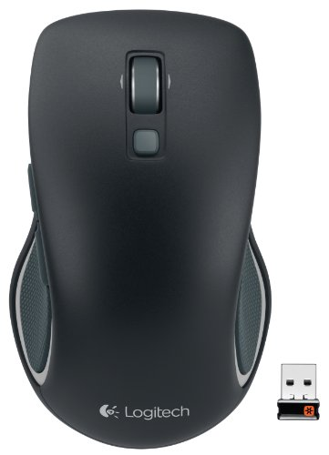 Logitech M560 Wireless Mouse – Hyper-fast Scrolling, Full-Size Ergonomic Design for Right or Left Hand Use, Microsoft Windows Shortcut Button, and USB Unifying Receiver for Computers, Black