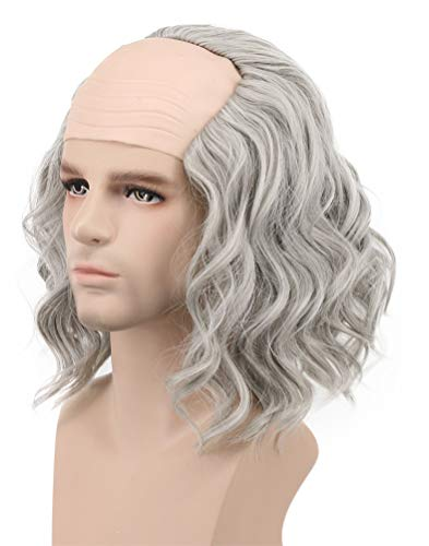Karlery California Colonial Man Short Bob Curly Scientist Bald Wig Halloween Cosplay Anime Costume Party Wig