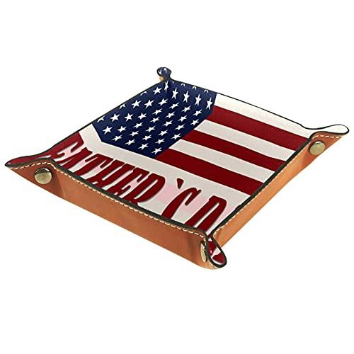 Bandeja de Cuero Feliz día del padre con la bandera americana Almacenamiento Bandeja Organizador Bandeja de Almacenamiento Multifunción de Piel para Relojes,Llaves