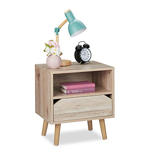 Relaxdays Nachttisch mit Schublade, Holzoptik, Beistelltisch Schlafzimmer, HBT: 49,5x45x35 cm, Nachtkästchen, Hellbraun, 1 Stück