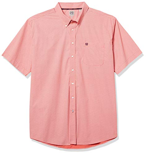 Cinch Men's Classic Fit Short Sleeve Button One Open Pocket Shirt, Spice Coral Geo, XX-Large