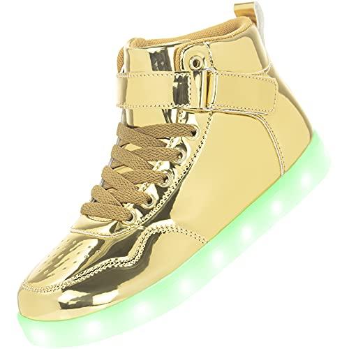 APTESOL Kinder LED Schuhe High-Top Licht Blinkt Sneaker USB Aufladen Shoes für Jungen und Mädchen [Spiegel Gold,30]