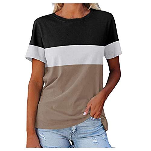 YANFANG Camiseta Holgada Mujer, Camisetas de Manga Corta para Mujer Color Block Túnicas de Cuello Redondo Tops Camisetas Casuales, XXL,Khaki
