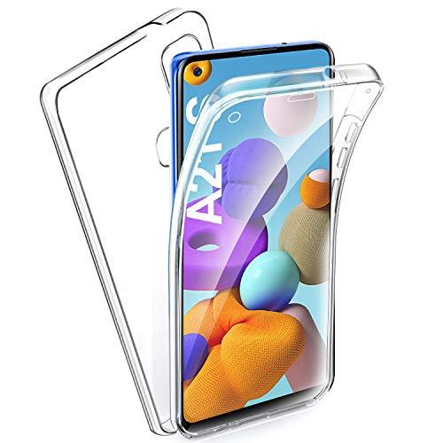 AROYI Hülle Kompatibel mit Galaxy A21s 360 Grad Handyhülle, Silikon Crystal Full Schutz Cover Separat Hart PC Zurück mit Weich TPU Vorderseite Vorne & Hinten Schutzhülle für Galaxy A21s