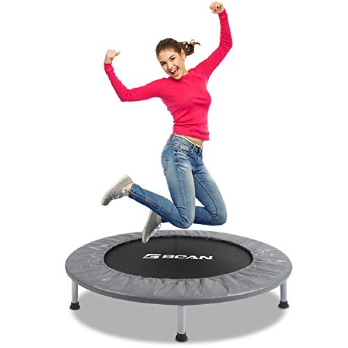 "BCAN 38"" Foldable Mini Trampoline, Fitness Trampoline with Safety Pad, Stable & Quiet Exercise Rebounder for Kids Adults Indoor/Garden Workout Max 300lbs - Grey"