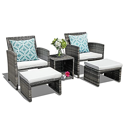 OC Orange-Casual Wicker Patio Furniture Set Rattan Patio Chair Set with Ottoman, Pillows Included,...