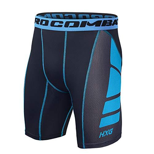 Hivexagon Pantalones Cortos de Compresión de Media Pierna para Deportes, Correr y Entrenamiento de Gimnasio SM008BUXL