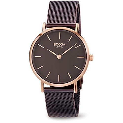 Boccia Damen Analog Quarz Uhr mit Edelstahl Armband 3281-05