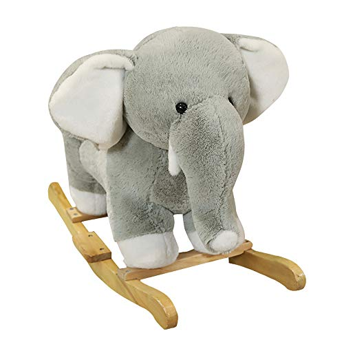 BAIDEFENG Baby Plush Rocking Horse,Wooden Elephant Rocker Sound,Stuffed Rocking Animal Baby/Kid Ride on Toy for 1 to 3 Years Old