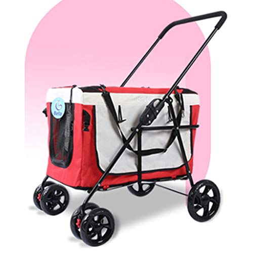 3-in-1 Luxus Hund/Katze/Pet Stroller (Travel Träger + Autositz + Kinderwagen) mit Detach Träger/Pump-Free Gummireifen/Alurahmen for Medium & Kleintiere (Color : Red)