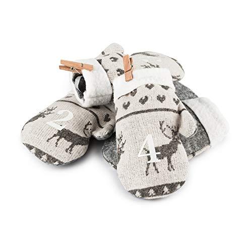 pajoma Adventskalender mit 24 Handschuh-Beuteln zum Befüllen und Aufhängen, Weihnachten (Grausilber)