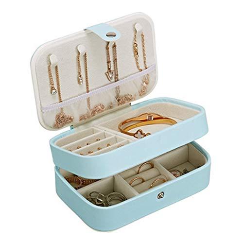 PPLAS Caja de joyería Doble Capa Hebilla joyería Collar de ataúd Almacenamiento Exquisito Maquillaje portátil Almacenamiento Collares de Belleza Caja de Viaje (Color : Blue)
