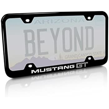 Ford Mustang GT Black License Plate Frame Au-Tomotive Gold INC