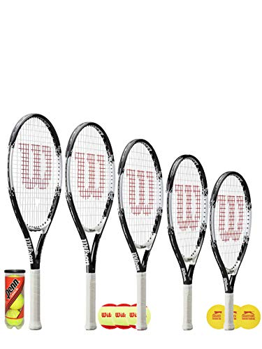 "Wilson Federer Junior Raqueta de tenis + 3 pelotas de tenis (varias opciones de pelota) 19\"", 21\"", 23\"", 25\"" y 26\"" (23\"" + 3 pelotas de inicio)"