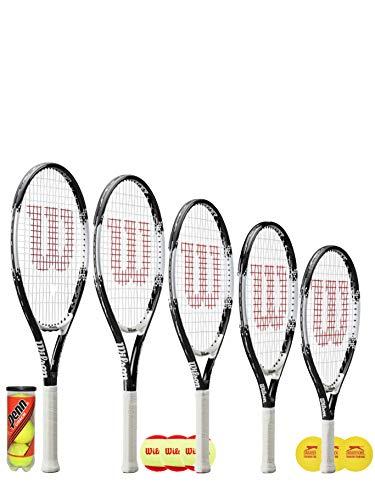 Wilson Federer Junior Raqueta de tenis + 3 pelotas de tenis (varias opciones de pelota) 19', 21', 23', 25' y 26' (23' + 3 bolas de inicio)