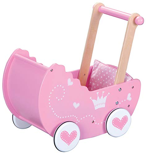 LELIN 0003994 Wooden Princess Doll Pram Buggy Pushchair Children Girls Pretend Play