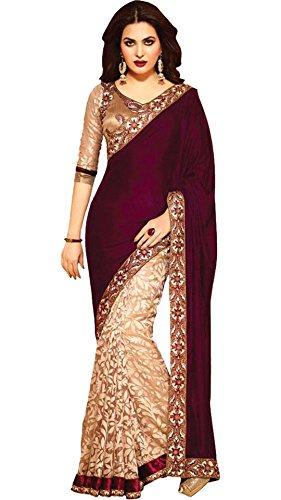 Sari indien Bollywood en velours marron pour fête de mariage ou Diwali, sans coutures - Rouge - Taille unique