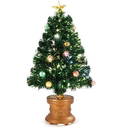 SAFEPLUS LED Christmas Tree, 2ft/3ft/4ft/6ft Christmas Tree,Lighted Christmas Tree with Red Berries Pine Cones
