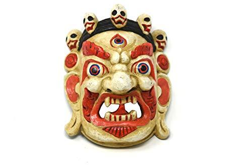 TM THAMELMART FOR BEAUTIFUL MINDS Tibetische Buddhismus-Maske aus Holz von Hand sehnt und nepalesischer Lord Mahakala, Wanddekoration (weiß)