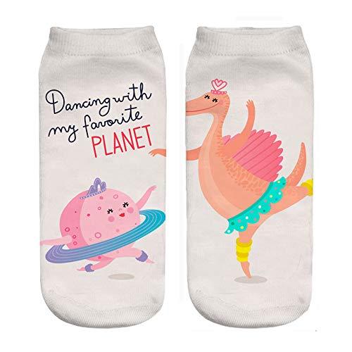 NANAYOUPIN 5 paar nieuwe 3D digitale afdrukken sokken vrouwelijke dinosaurus verkenning universum sterren telescoop cartoon patroon schattig dinosaurus dames sokken katoen comfortabele sokken 4