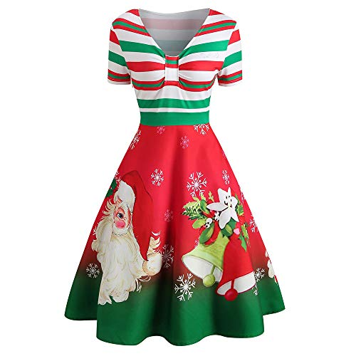 Huacat Damen Weihnachten Kleid Kurz Ärmel V-Ausschnitt Süßigkeiten Streifen Weihnachtsmann Muster...