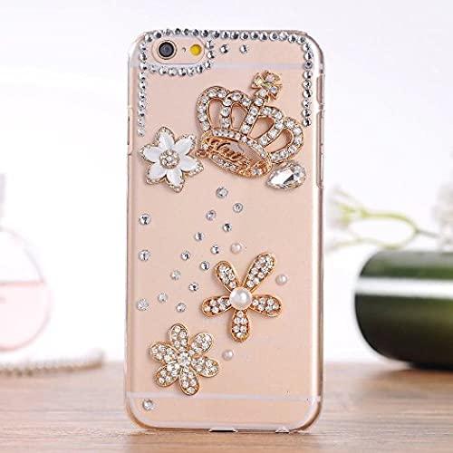 Funda de Lujo Elegante y Brillante con Diamantes Dorados y Cristal para iPhone 12 X XS MAX XR 8 7 6S Plus Funda Bling para teléfonos móviles Inteligentes, 1, para iPhone 12 Mini