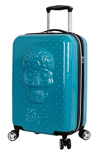 Betsey Johnson Designer 20 Inch Carry On - Expandable (ABS + PC) Hardside Luggage - Lightweight Durable Suitcase With 8-Rolling Spinner Wheels for Women (Sugar Skull)